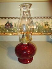LOVELY VINTAGE QUEEN ANNE #2 BURNER OIL LAMP, CRANBERRY  WITH CLEAR CHIMNEY, 15""