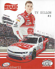 "2016 TY DILLON / RICHARD CHILDRESS ""DARLINGTON THROWBACK "" #3 NASCAR POSTCARD"