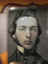 ANTIQUE AMERICAN DAGUERREOTYPE BLUE EYED FRECKLED YOUNG CUTE MAN FACIAL PHOTO