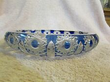 "Lg. Bohemian Czech Cobalt Blue Queen Lace Cut to Clear Crystal 7.5"" Ash Tray"