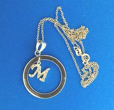 Letter M Circle Pendant Necklace Chain Italy Sterling Silver Pave CZ
