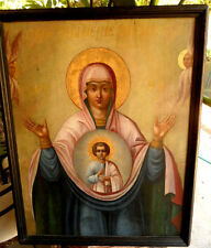 "18C Large Antique Russia Russian Church Icon of the Mother of God ""Sign"" 38x30in"