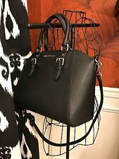 NWT MICHAEL KORS SAFFIANO LEATHER CIARA LARGE TOP ZIP SATCHEL LTR BAG IN BLACK