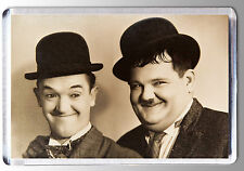 LAUREL and HARDY BLACK & WHITE (sepia tint) LARGE FRIDGE MAGNET - CLASSIC!