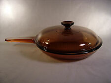 "Pyrex Vision Ware Amber 7"" Waffle Bottom Fry Pan / Skillet with Lid - USA"