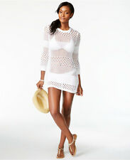 Tommy Bahama White Open Knit Zipper Side Swimsuit Cover Up Tunic S Small $128