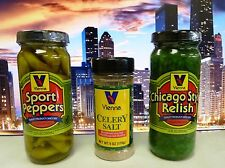 VIENNA BEEF Chicago Hot Dog Sport Peppers & Relish Condiment Kit w/ Celery Salt