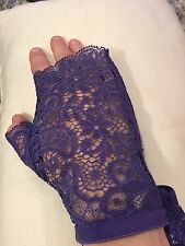 La Perla Purple Lace Stretch Fingerless Gloves $378