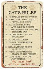 Cat Rules Tin Sign , 10x16