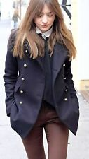 Zara Blu Navy Lana breve cappotto militare con bottoni d'oro Medium M Giacca