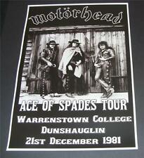 Motorhead concert poster Warrenstown College Ireland 1981 A3 size repro