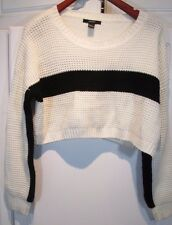 ~ Forever 21 ~ White, Black Stripe Crop Top Knit Sweater Party Stretchy MEDIUM M