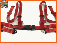 New Sports 4 Point Racing Bucket Seat Belt Harness RED