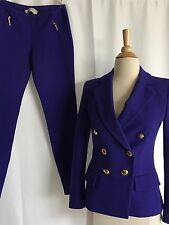 Emilio Pucci Woman Rayon Purple Fitted Gold Buttons Blazer Skinny Pants Size 38