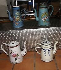 LOT 4 CAFETIERE EMAIL emaille ancienne decor fleur lustucru rose japy pot epice