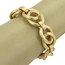 18k Yellow Gold Fancy Oval Ring Links Textured Chain Bracelet