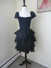 St. John Black Vintage 1980's Party Dress Santana Knit & Organza Ruffles 4 S M