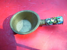 Antique Brass Chinese Silk Coal Iron Enamel Handle Flower Detail :