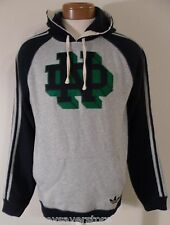 NWT Adidas Notre Dame Fighting Irish Mens Pullover Fleece Hoodie S Grey/Navy $70