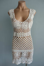Vintage Handmade Scoop Neck Sleeveless Cream Crochet Mini Dress sz 6 to 8
