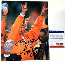"PHILLIP FULMER SIGNED 1998 NATIONAL CHAMPS 8X10 ""TROPHY"" PHOTO TENNESSEE PSA COA"