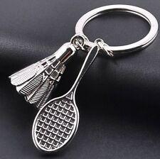 Porte-clés raquette et volant de badminton argenté en acier.