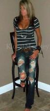 SEXY DESTRUCTED TORN BOOTCUT DARK WASH FLARE DENIM RIPPED JEANS US 27 3 EU 41