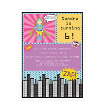 Super Hero Girl PERSONALIZED Birthday Party Invitations - Set of 16