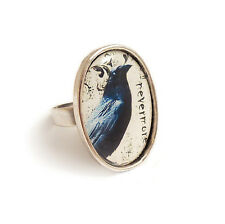 The Raven NEVERMORE gothic ring silver adjustable Edgar Allan Poe goth steampunk