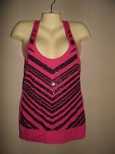 ALMOST FAMOUS FUSHIA PINK SPARKLE WOMENS SEQUIN TANK TEE SHIRT TOP SIZE MEDIUM