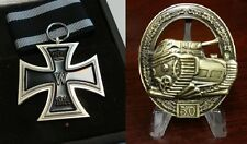 WWII WW2 German medal collection Iron Cross and Panzer Tank award badge
