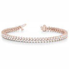 3.96 Carat SI1White Round Diamond Bracelet In Line Style14k Rose Gold For Women