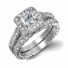 VINTAGE INSPIRED 18K WHITE GOLD PLATED GENUINE CLEAR CZ CRYSTAL RING SET