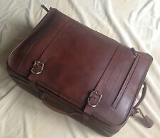 Brunello Cucinelli Suitcase Travel Trolley Bag Brown Leather Italy MBMAU139