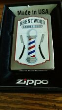 2016 zippo lighter w straight razor and Barber pole art Brentwood Barber mib