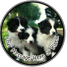 ND1 Cute Dog Puppy Border Collie birthday personalised round cake topper icing