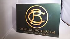Vintage Crossley Bros. stationary engine display board. Rally sign. Show board.