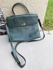 Vintage Coach Madison Satchel Handbag Green Pebbled Leather G4E-4414