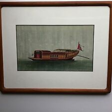 Antique Framed Chinese Temperea on Rice Paper circa 1895 of Chinese Junk