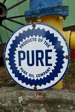 PURE OIL COMPANY GASOLINE porcelain sign vintage petrolium gas pump plate