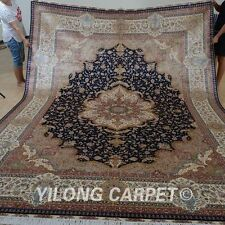 Yilong 9'x12' Handmade Persian Silk Rug Qom Classic Home Decoration Carpet 0826