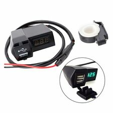 2 USB Motorcycle Power Socket Charger With Green LED Voltage Voltmeter 3.1A