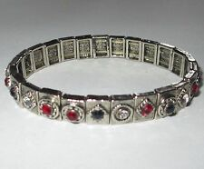 STRETCH expansion costume RUBY SAPPHIRE CLEAR RHINESTONE bracelet VGUC