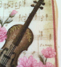 Music Fabric Squares LOVE SONGS Harp Violin Hearts 9 Appliques Makower RARE
