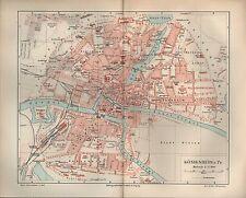 CARTINA City Map 1896: mappa della città: re montagna in di Prussia. età di nuovi Pregel