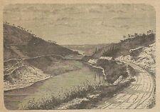 A3158 Fiume Arno - Veduta - Stampa Antica del 1887 - Incisione