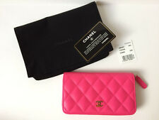 NEW CHANEL FUCHSIA PINK 2016 QUILTED LEATHER ZIP AROUND WALLET SOLD OUT