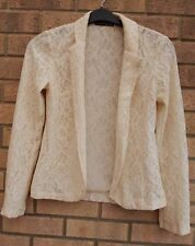 PRIMARK CREAM FLORAL LACE FORMAL ELEGANT KIMONO BLAZER COAT JACKET 8 S