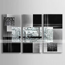 3 pieces Large Modern hand-painted Art Oil Painting Wall Decor canvas gray black
