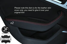 RED STITCH 2X REAR DOOR HANDLE ARMREST SKIN COVERS FITS AUDI A6 C7 2011-2015